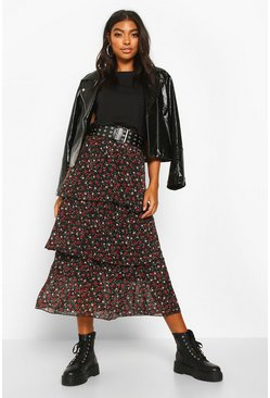 Black Tall Ditsy Floral Layered Midaxi Skirt