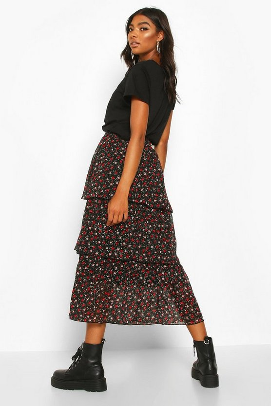 Tall Ditsy Floral Layered Midaxi Skirt