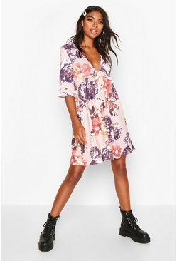 Womens Blush Tall Ditsy Floral Ruffle Smock Dress