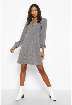 Womens Black Tall Button Through Stripe Shirt Dress