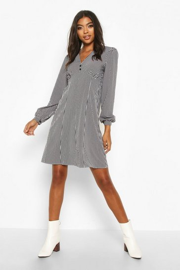 Black Tall Button Through Stripe Shirt Dress