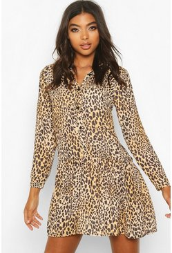 Tall Leopard Print Woven Smock Dress