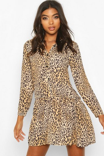 Womens Tall Leopard Print Woven Smock Dress