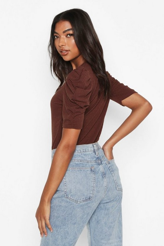 Tall Ruched Sleeve Rib Top