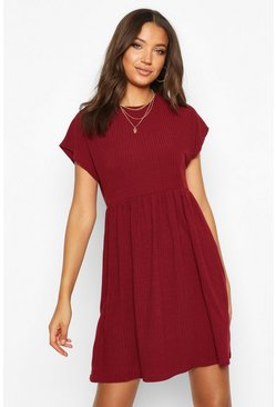 Womens Berry Tall Soft Rib Smock Dress