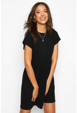 Womens Black Tall Soft Rib Smock Dress