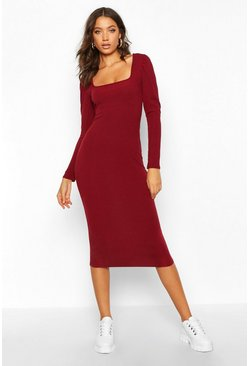 Womens Berry Tall Puff Sleeve Square Neck Rib Bodycon Dress