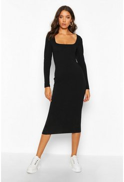 Black Tall Puff Sleeve Square Neck Rib Bodycon Dress
