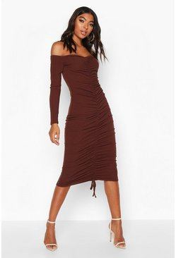 Womens Chocolate Tall Ruched Rib Bodycon Midi Dress