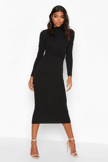 Black Tall Twist Front Rib Bodycon Dress