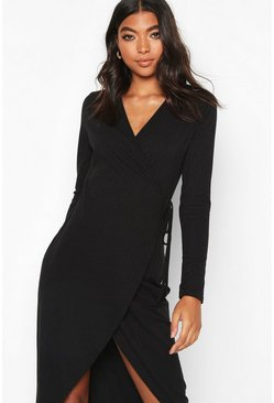 Womens Black Tall Wrap Rib Midi Dress