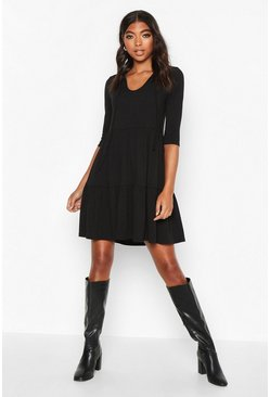 Womens Black Tall Tie Neck Rib Smock Dress
