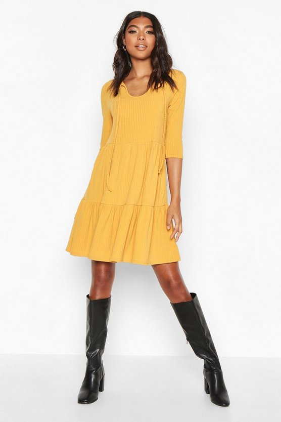 Mustard Tall Tie Neck Rib Smock Dress