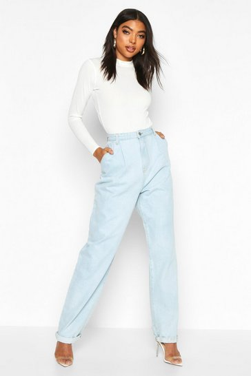 Womens Mid blue Tall Turn Cuff Boyfriend Jeans