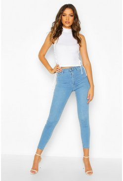 Womens Mid blue Tall Butt Shaper Skinny Jeans