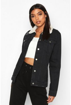 Black Tall Borg Lined Denim Jacket