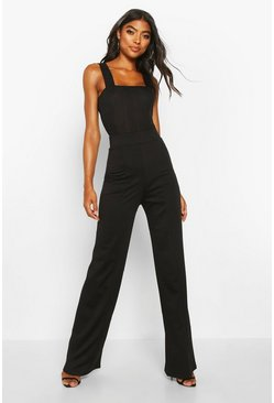 Black Tall Contour Waistband Ponte Wide Leg Trousers
