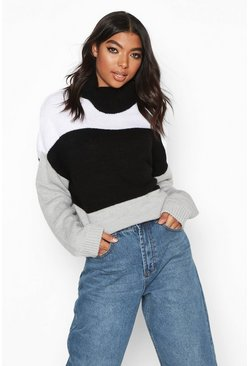 Womens Black Tall Roll Neck Colour Block Jumper