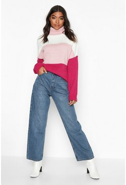 Pink Tall Roll Neck Colour Block Jumper