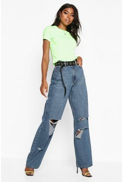 Womens Mid blue Tall Rip Boyfriend Jeans
