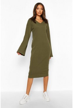 Khaki Tall Ribbed V Neck Dress