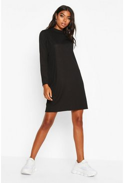 Black Tall Ribbed Long Sleeve T-Shirt Dress