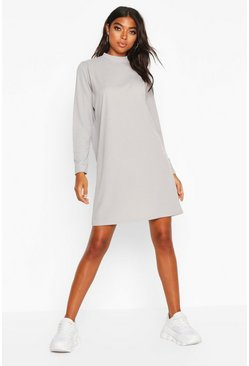 Grey Tall Ribbed Long Sleeve T-Shirt Dress
