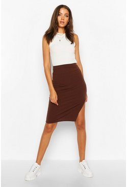 Chocolate Tall Split Rib Midi Skirt