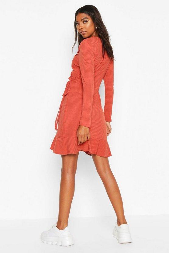 Tall Ruffle Rib Wrap Tea Dress
