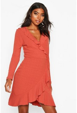 Womens Rust Tall Ruffle Rib Wrap Tea Dress