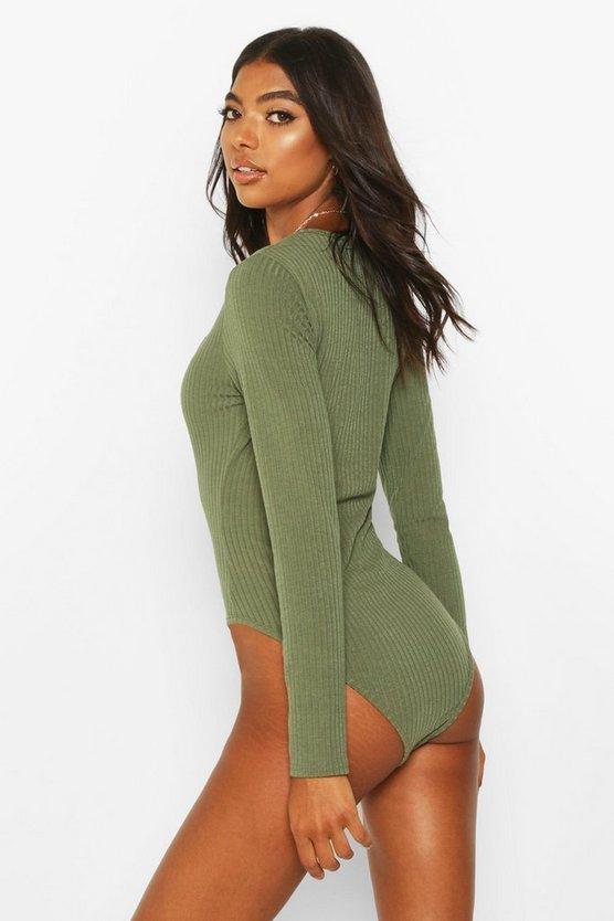 Tall Square Neck Rib Knit Bodysuit