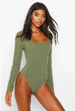 Khaki Tall Square Neck Rib Knit Bodysuit