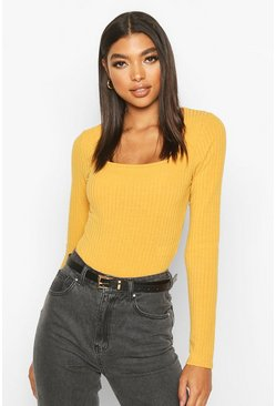 Mustard Tall Square Neck Rib Knit Bodysuit