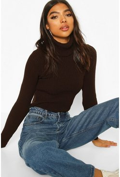 Chocolate Tall Roll Neck Jumper