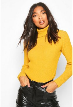 Womens Mustard Tall Roll Neck Jumper