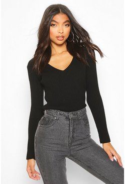 Black Tall V Neck Rib Knit Jumper
