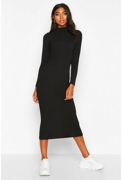 Womens Black Tall Jumbo Rib Neck Midi Dress