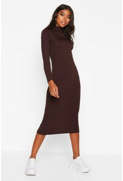 Womens Chocolate Tall Jumbo Rib Neck Midi Dress
