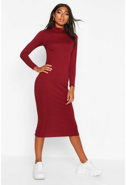 Wine Tall Jumbo Rib Neck Midi Dress