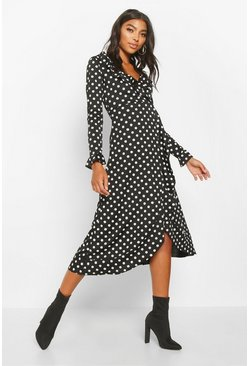 Womens Black Tall Polka Dot Ruffle Midi Dress