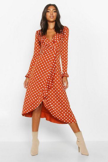 Rust Tall Polka Dot Ruffle Midi Dress