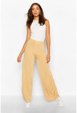 Womens Camel Tall Shiny Rib Flares