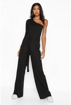 Womens Black Tall Belted Ribbed Wide Leg Trousers