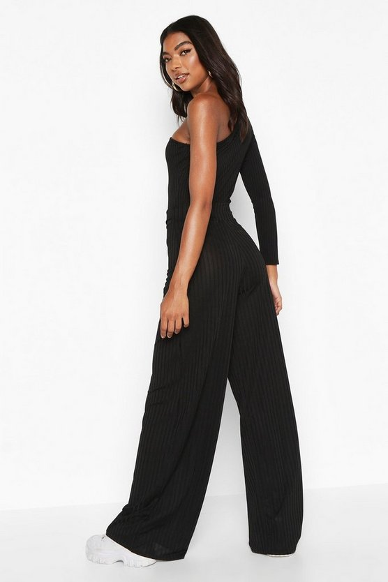 Tall Belted Ribbed Wide Leg Trousers