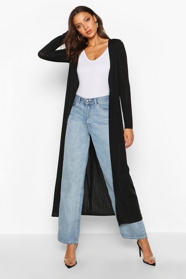 Womens Black Tall Shiny Rib Longline Duster