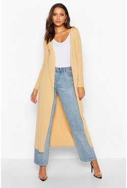 Womens Camel Tall Shiny Rib Longline Duster