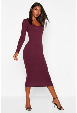 Berry Tall Square Neck Bodycon Dress