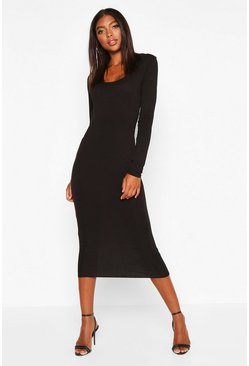 Black Tall Square Neck Bodycon Dress