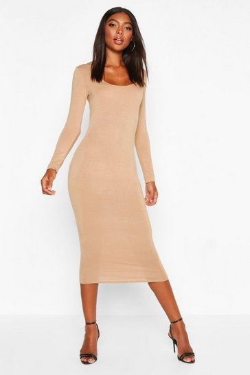 Womens Camel Tall Square Neck Bodycon Dress