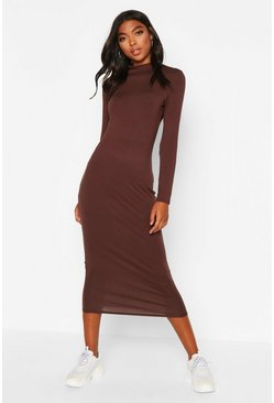 Womens Chocolate Tall Roll Neck Bodycon Dress